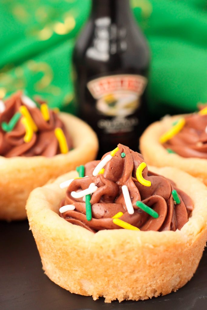Bailey's Cookie Cups with sprinkles and mini bottle