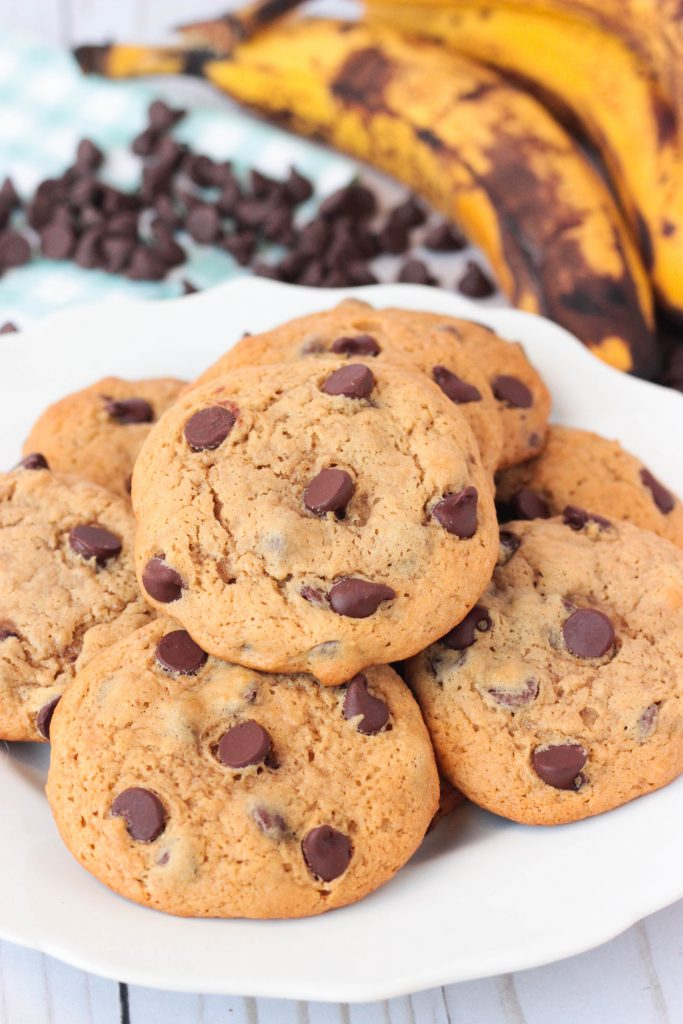 Banana Chocolate Chip Cookies on a white plate