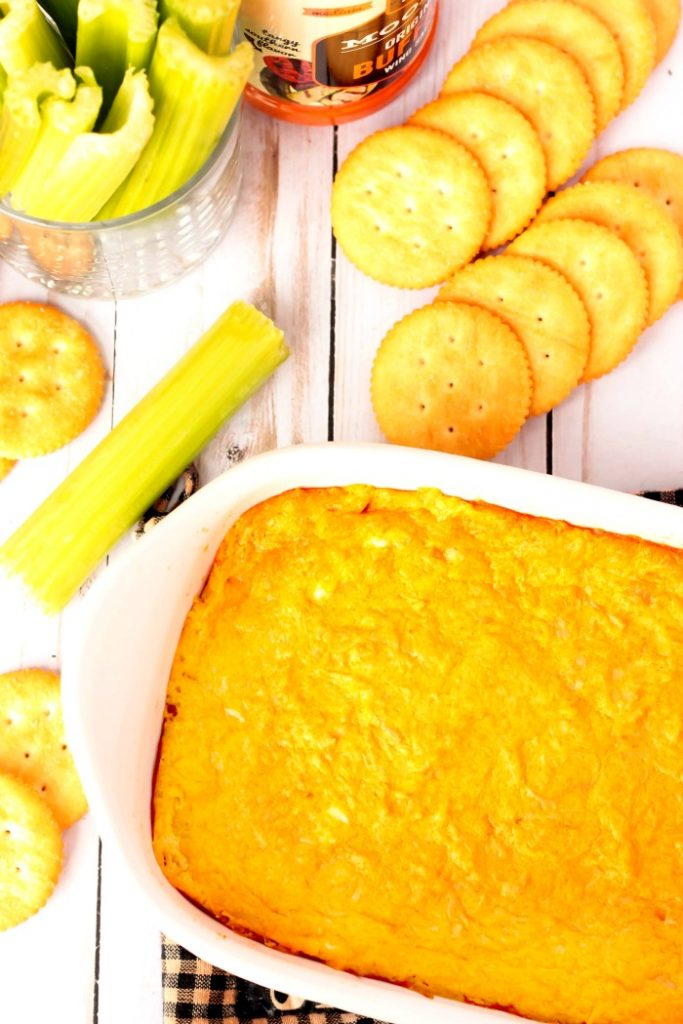 Buffalo Chicken Dip overhead shot with crackers