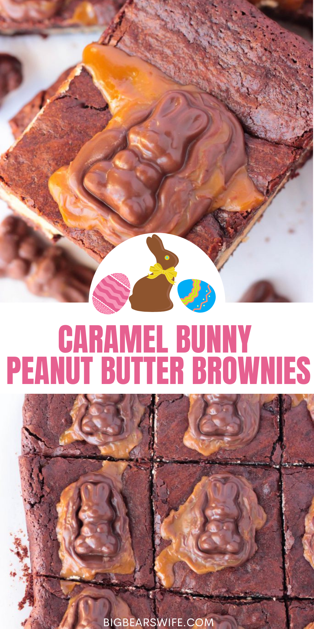 Peanut Butter Stuffed Chocolate Brownies with a chocolate caramel bunny melted on top, what's not to love? These Caramel Bunny Peanut Butter Brownies are the perfect addition to any Easter dessert spread!