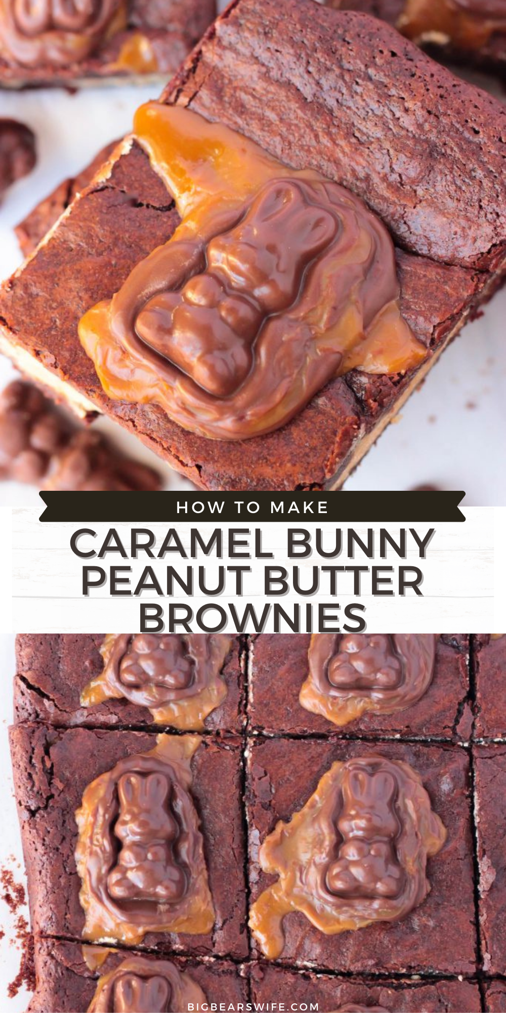 Peanut Butter Stuffed Chocolate Brownies with a chocolate caramel bunny melted on top, what's not to love? These Caramel Bunny Peanut Butter Brownies are the perfect addition to any Easter dessert spread!   via @bigbearswife