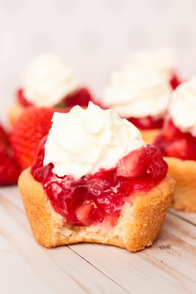 Fresh Strawberry Pie Cookie Cup with a bite missing