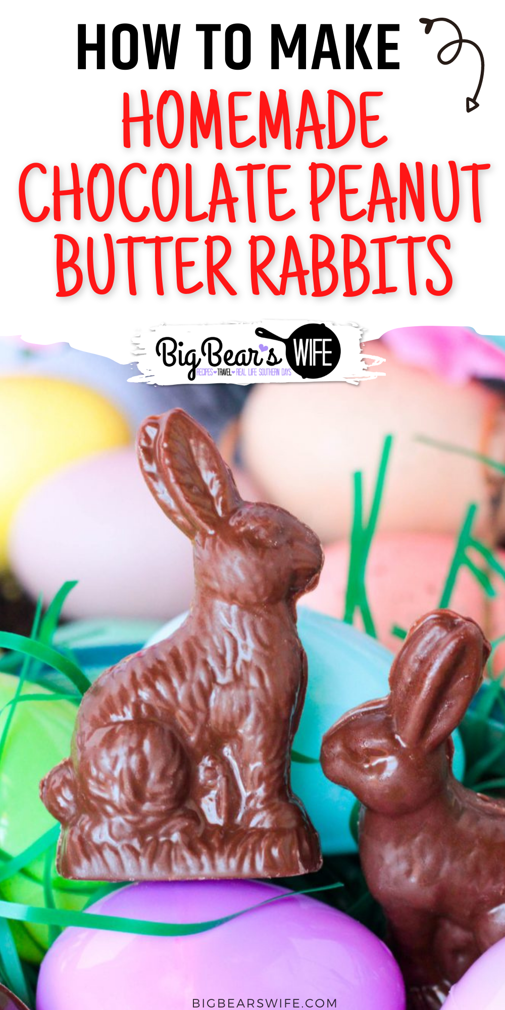 Little Homemade Chocolate Peanut Butter Rabbits are just perfect for Easter Baskets! Make them like this with a peanut butter filling, leave them hollow or make them into solid chocolate bunnies! 