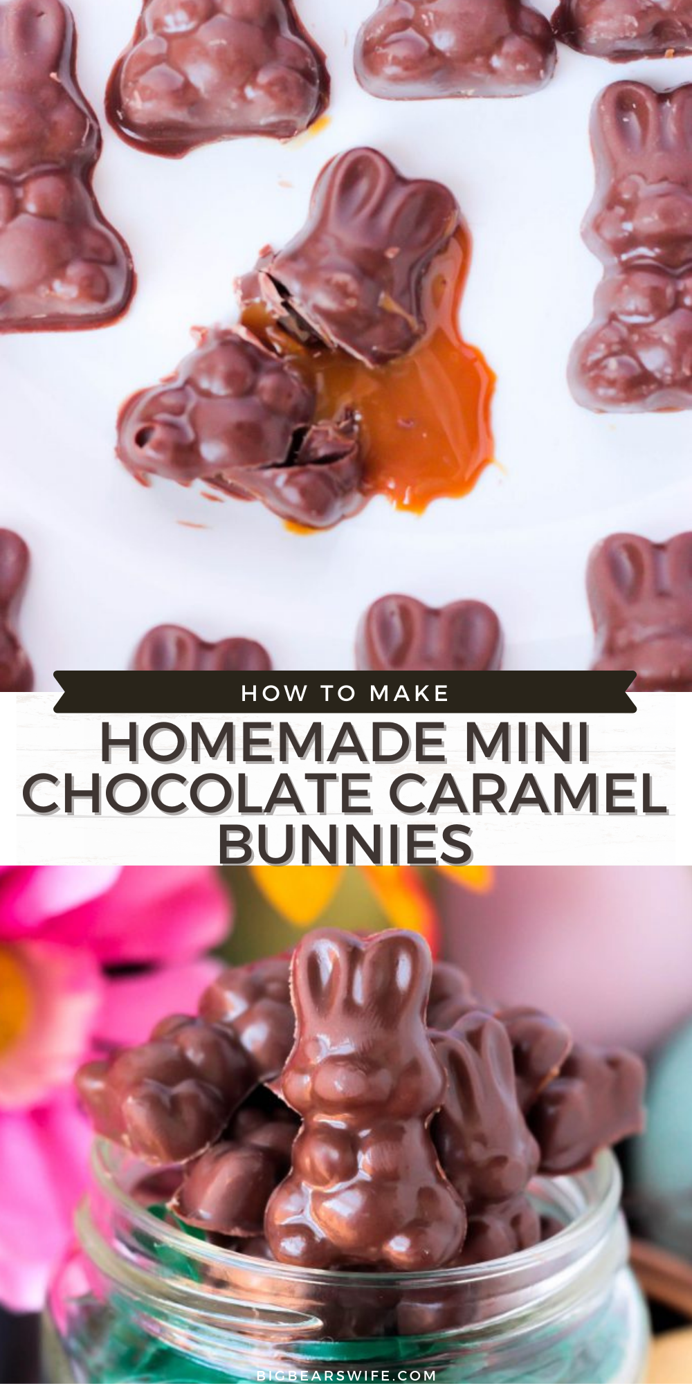 These Homemade Mini Chocolate Caramel Bunnies are really easy to make and they're perfect for to top brownies, cakes and eclair desserts! They're also the perfect Easter/Springtime ice cream toppers!   via @bigbearswife
