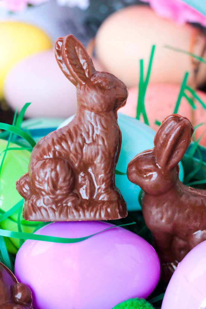 Homemade Chocolate Peanut Butter Rabbits on an Easter egg