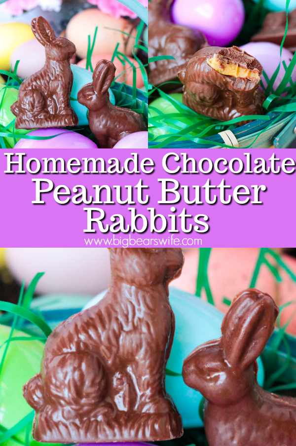 Little Homemade Chocolate Peanut Butter Rabbits are just perfect for Easter Baskets! #EasterSweetsWeek #Dessert #ChocolateBunny #Easter