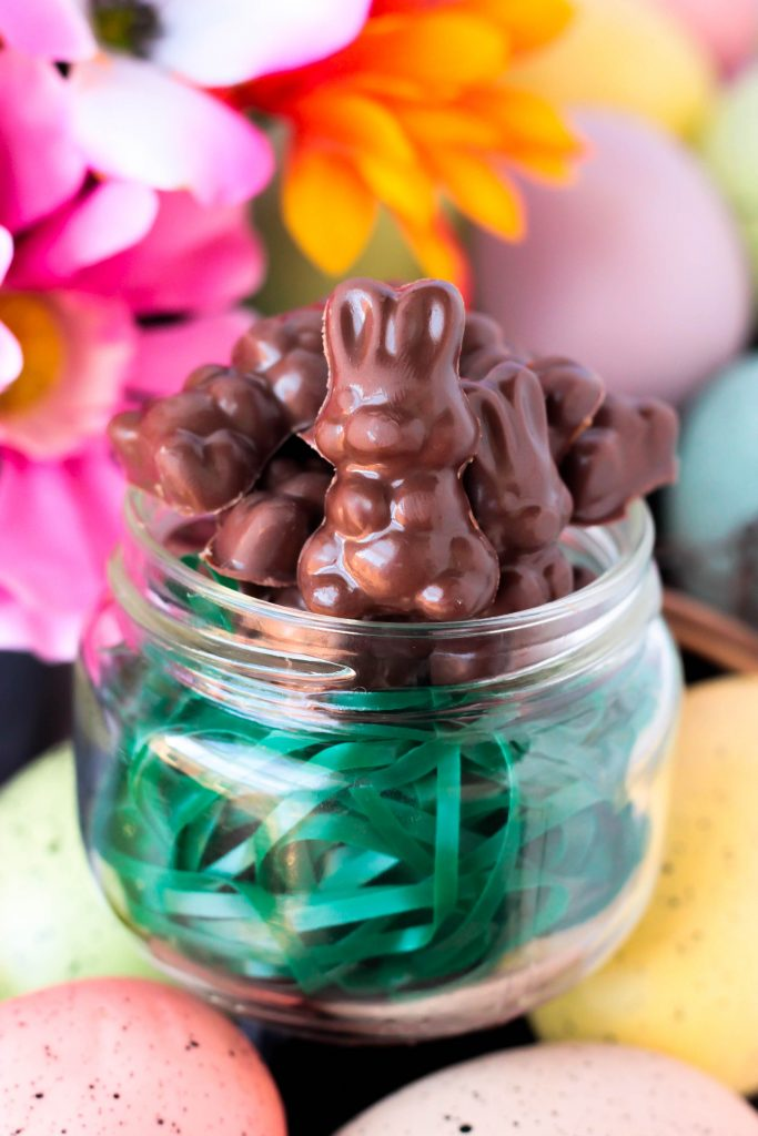 Homemade Mini Chocolate Caramel Bunnies in a Jar