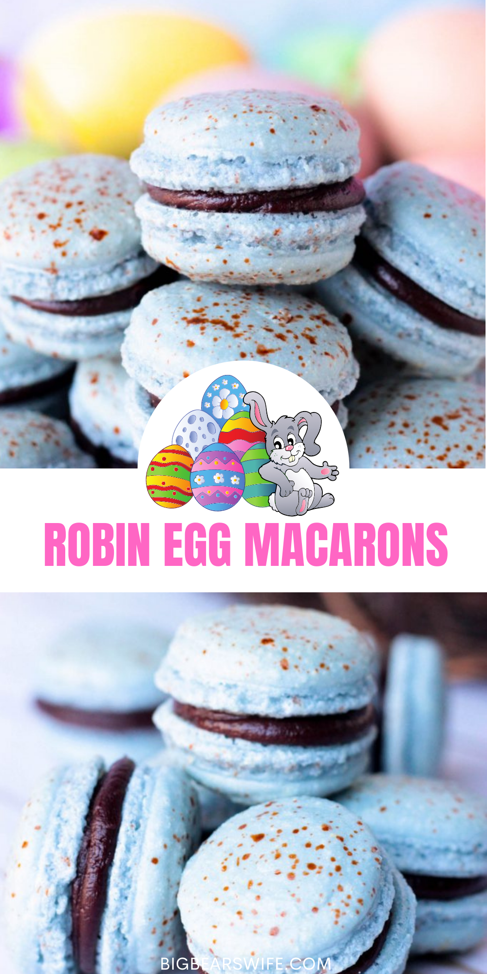 I can't think of a more perfect Easter macarons then theseRobin Egg Macarons! They're the perfect shade of robin egg blue with cute little speckles and filled with a homemade chocolate ganache! via @bigbearswife