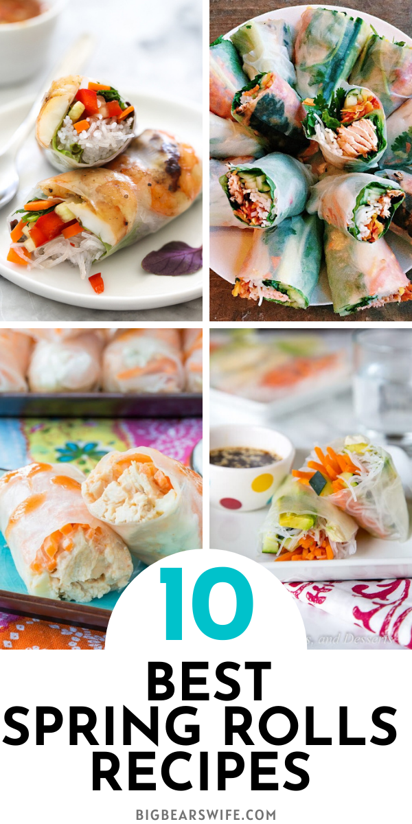 Spring Rolls are so pretty and I love all of the fillings that go inside of them before they're wrapped up. These are 10 Recipes for The BEST Fresh Spring Rolls that I've found! via @bigbearswife