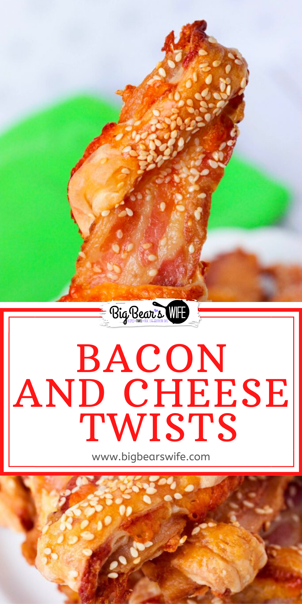 A few simple ingredients plus a bit of oven time and you've got fantastic Bacon and Cheese Twists that are perfect for Breakfast or Brunch! Serve them along side scrambled eggs or cooked sausage with ketchup or BBQ sauce for dipping! via @bigbearswife