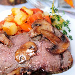 Dijon Sirloin Tip Roast with Brown Butter Mushrooms