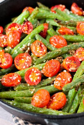 Roasted Garlic Sesame Seed Green Beans and Tomatoes