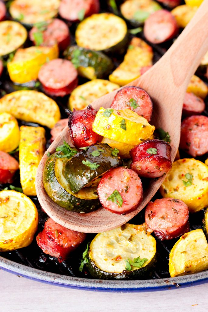 Roasted Smoked Bratwurst and Summer Squash