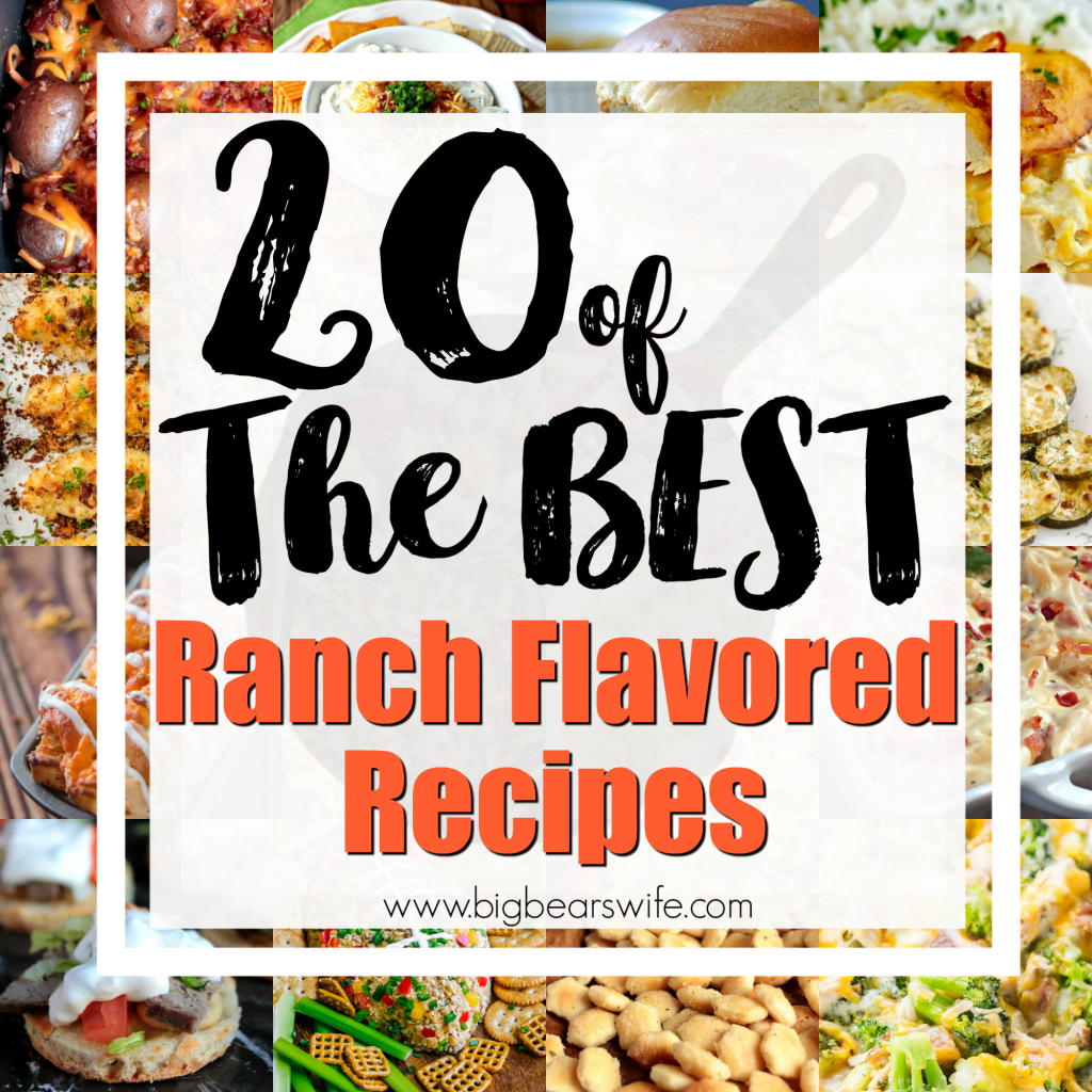 20 of the best Ranch Flavored Recipes - I'm crazy about ranch, it's true! There are so many fun fun ranch flavored recipes out there and I just had to find the BEST ones for you and I! I know you want these too!