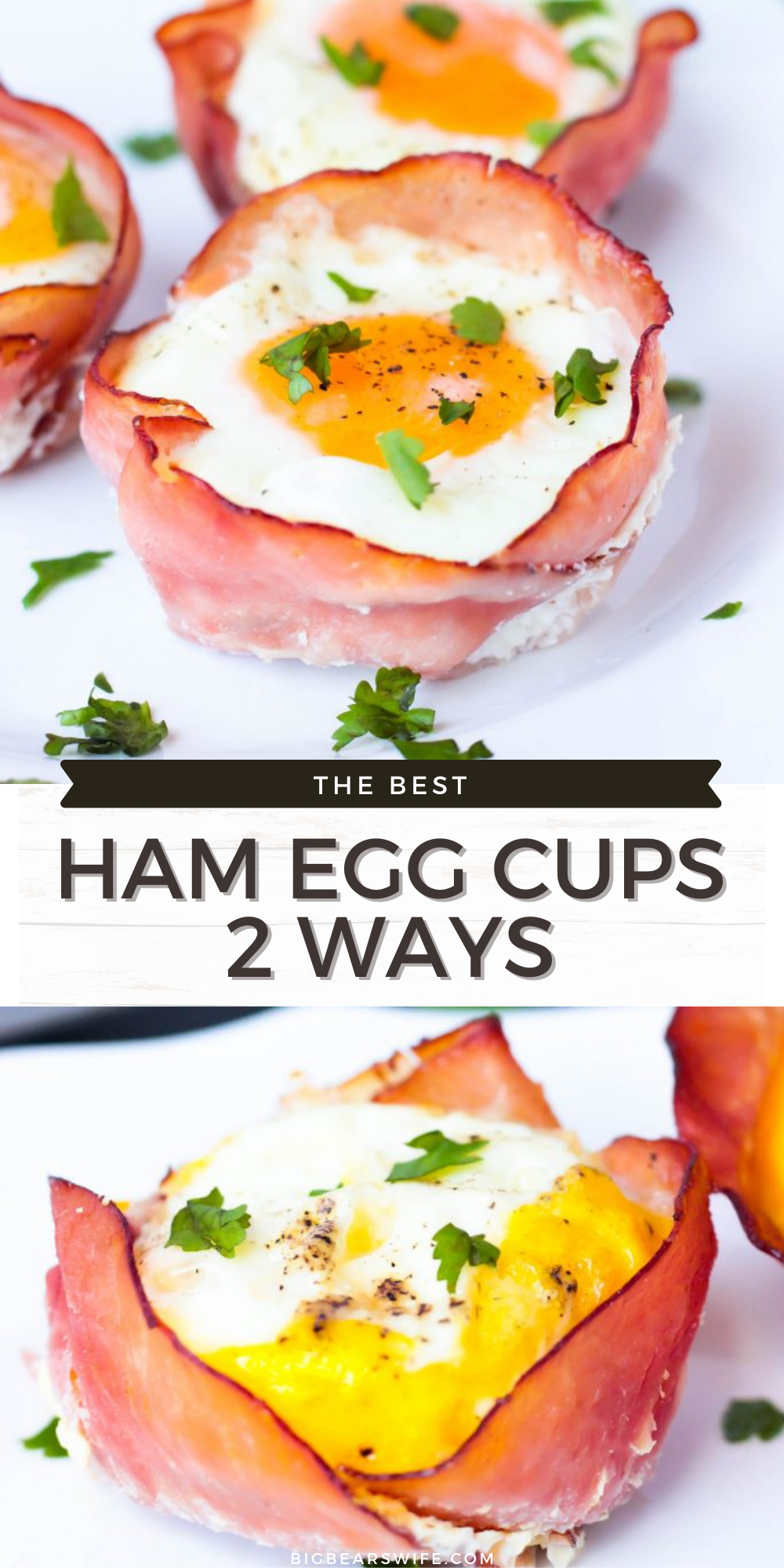 Ham Egg Cups are easy to make for breakfast or brunch! These Ham Egg cups are made two different ways, one scrambled and one way that reminds me of a hard boiled egg! Plus they're wrapped in tasty honey ham and baked with plenty of cheese!  via @bigbearswife