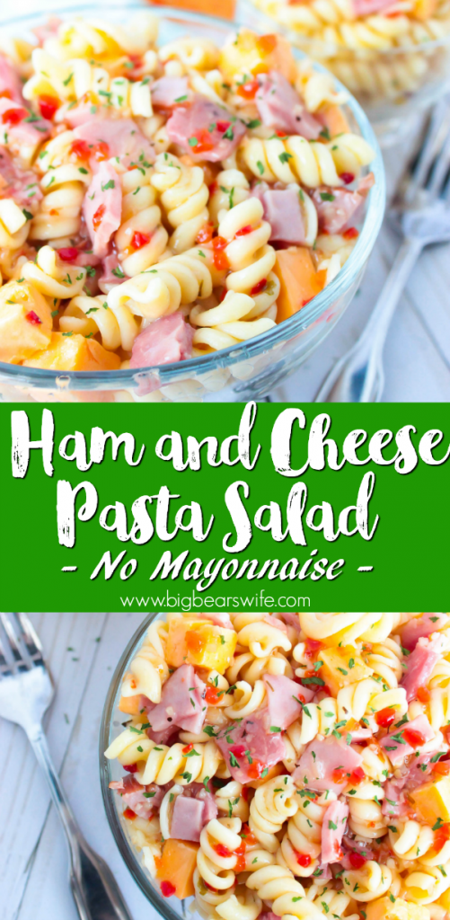 Ham and Cheese Pasta Salad - No Mayonnaise - Looking for the perfect pasta salad to take to that family cookout or neighborhood block party? ThisHam and Cheese Pasta Salad would be perfect! Plus, it's made without mayo, so it's safe to set out for a bit!