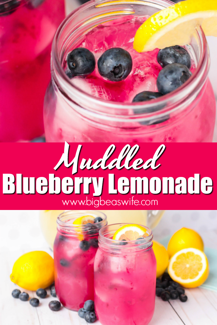 Muddled Blueberry Lemonade - This Muddled Blueberry Lemonade is perfect for a warm spring evening or a hot summer day. This refreshing drink would also be great to have by the pool. #lemonade #summerrecipes #blueberries