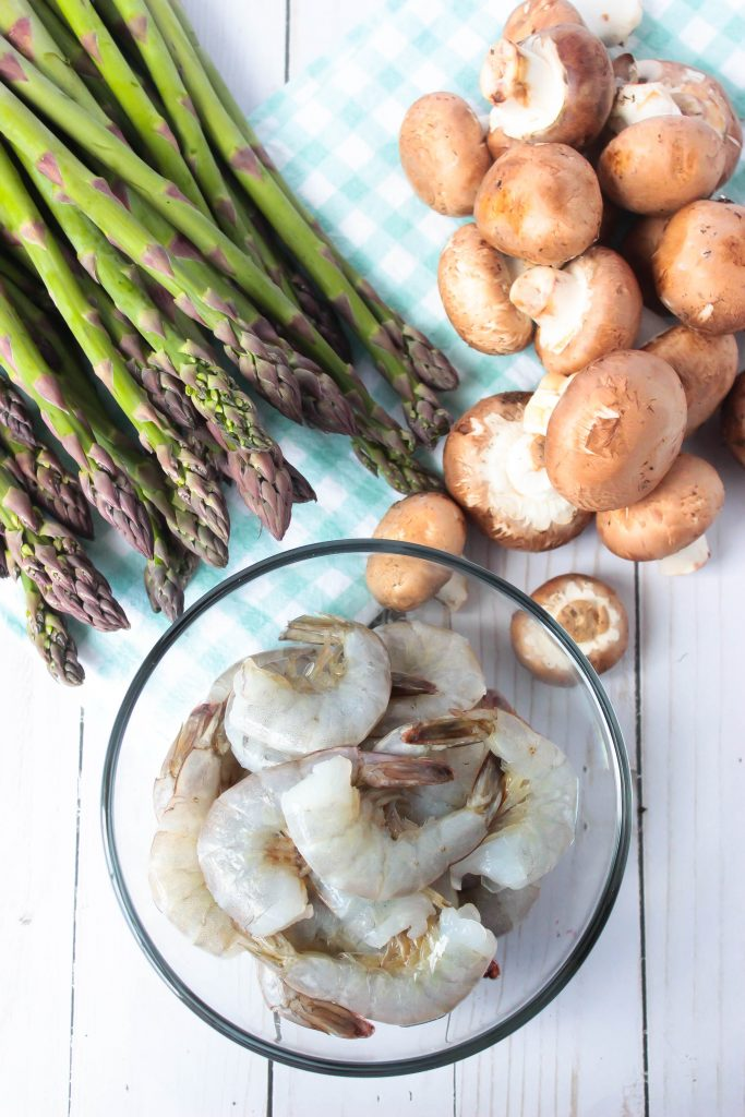 Roasted Asparagus Mushroom Shrimp Sheet Pan Meal