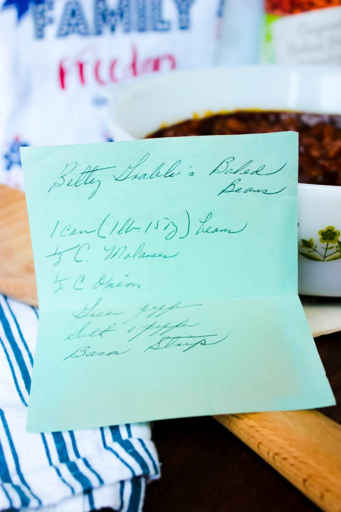 Betty Grable's Baked Beans - Betty Grable's Baked Beans recipe is a simple baked bean recipe that was handwritten and slipped into my grandmother's old wood recipe box years ago!