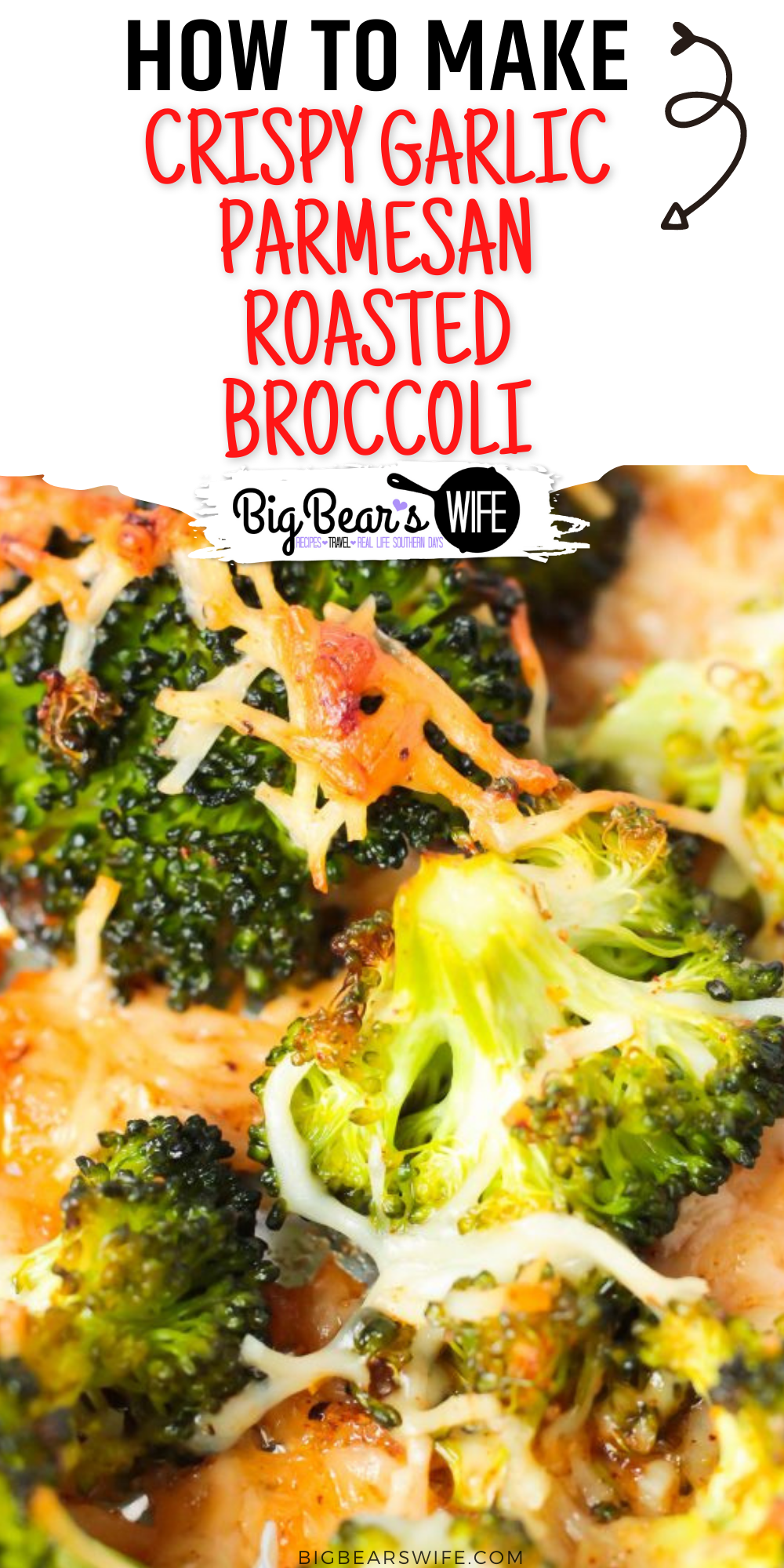 This Crispy Garlic Parmesan Roasted Broccoli is a perfectly tasty side dish that's ready in less than 30 minutes! Just mix and roast for a super delicious side to serve with all sorts of entrees!