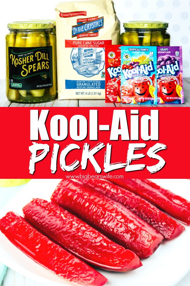 Kool-Aid Pickles - Ready for a great sweet and tangy treat to make the kids this summer? These Kool-aid pickles are fun to make and just as fun to eat! #koolaid #koolaidpickles
