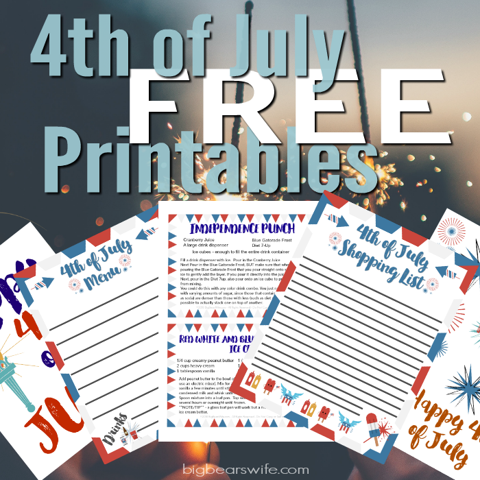 photograph about Party Planning Printable named Absolutely free 4th of July Get together Building Printables - Large Bears Spouse