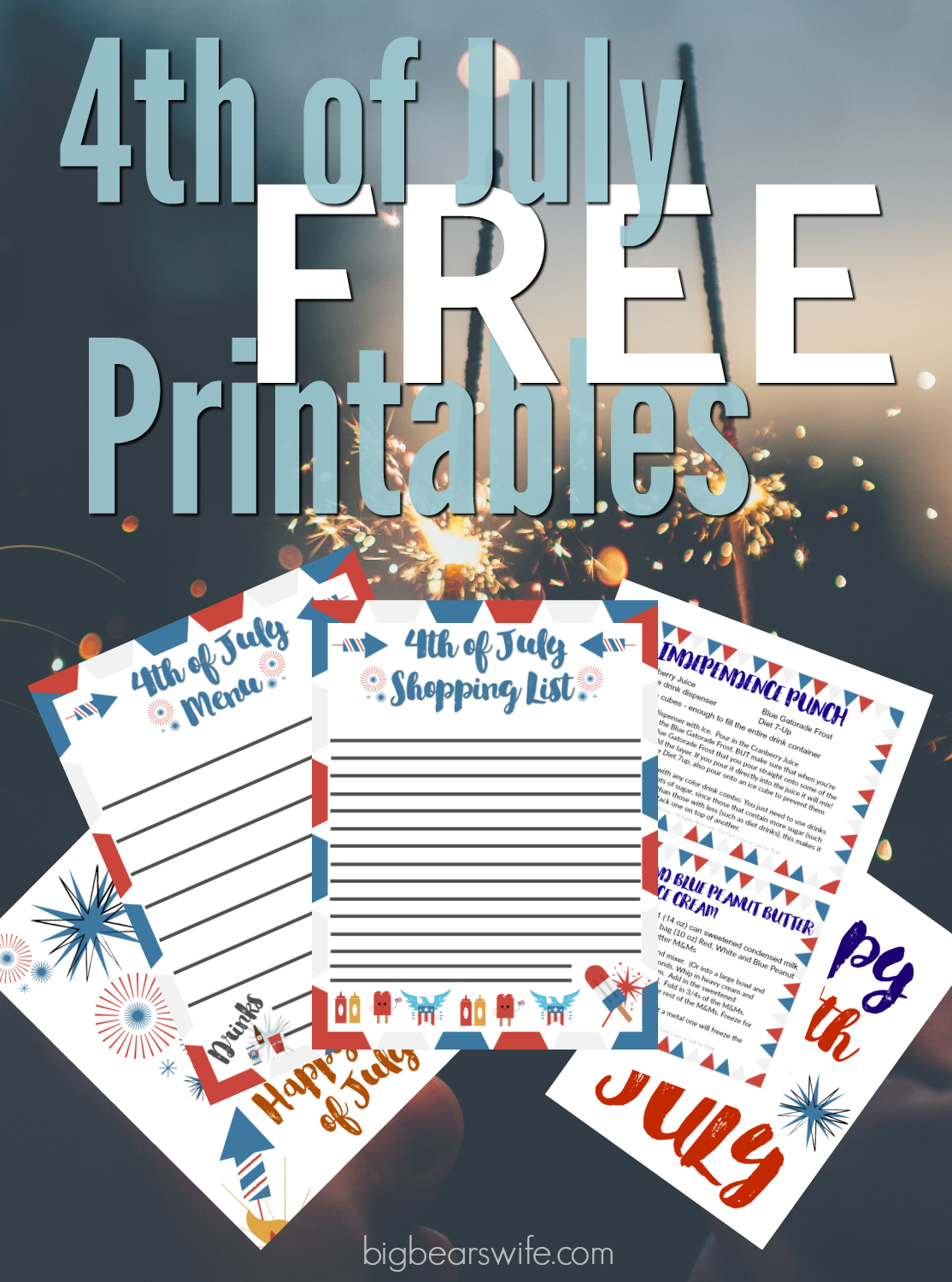 These free  4th of July Party Planning Printable include a blank menu sheet, shopping list, coloring pages, and printable recipe cards of two of my most popular 4th of July recipes! #freeprintable #4thofjuly #4thofJulyParty