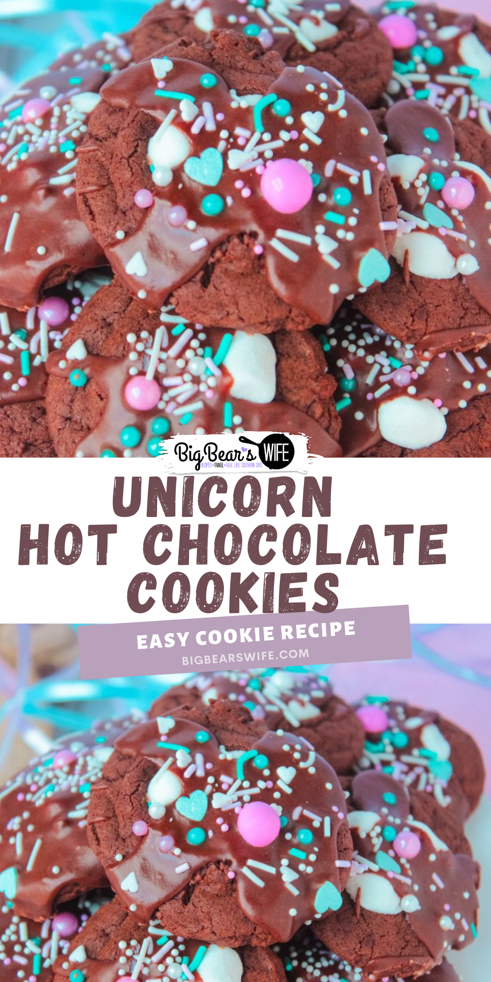 """Hot Chocolate Cookies are the MOST requested dessert at our partiesand cookout outs! This version is what I like to call """"Unicorn Hot Chocolate Cookies"""". Just like my Christmas cookies, they're rich chocolate cookies with melted marshmallows stacked on top with a chocolate glaze drizzle and sprinkles! via @bigbearswife"""