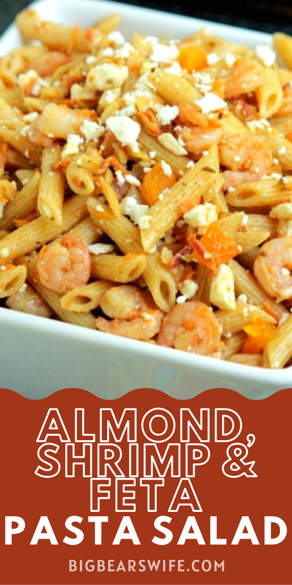 This Almond,Shrimp and Feta Pasta Salad is a light but filling pasta salad that's perfect for a main dish or side dish! via @bigbearswife