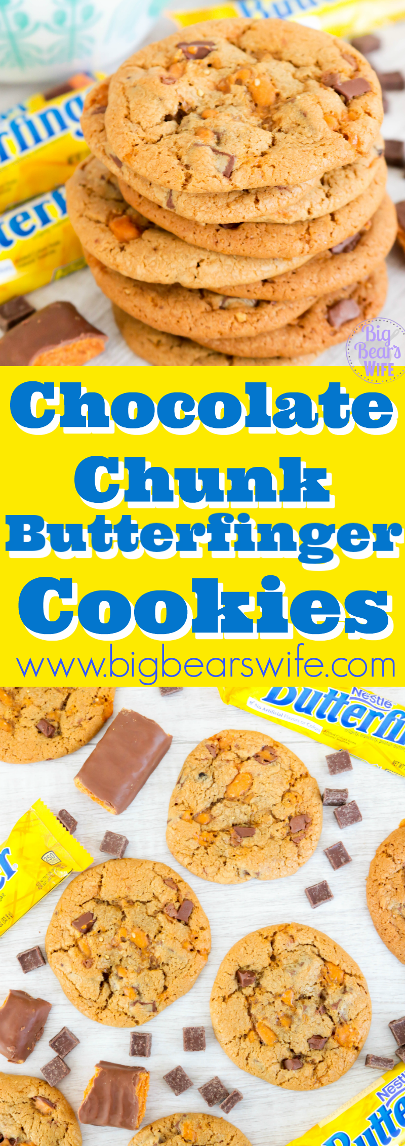 Chocolate Chunk Butterfinger Cookies - These Chocolate Chunk Butterfinger Cookies are soft and chewy cookies packed with chocolate chunks and chopped Butterfinger Candy Bars. One bite of these and you'll feel like a kid in a candy store!!