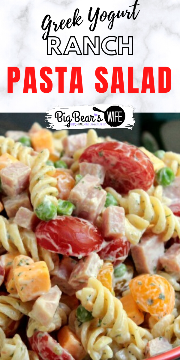 Greek Yogurt Ranch Pasta Salad is a delicious and cool ranch pasta salad that's made with Greek yogurt!
