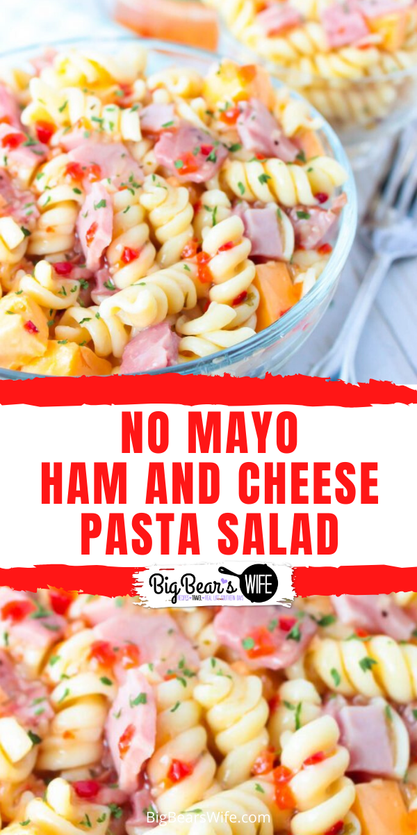 Ham and Cheese Pasta Salad - No Mayonnaise - Looking for the perfect pasta salad to take to that family cookout or neighborhood block party? This Ham and Cheese Pasta Salad would be perfect! Plus, it's made without mayo, so it's safe to set out for a bit!  via @bigbearswife