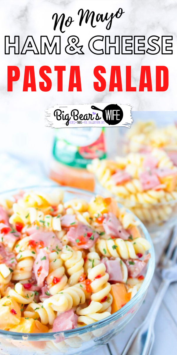 Ham and Cheese Pasta Salad - No Mayonnaise - Looking for the perfect pasta salad to take to that family cookout or neighborhood block party? This Ham and Cheese Pasta Salad would be perfect! Plus, it's made without mayo, so it's safe to set out for a bit!