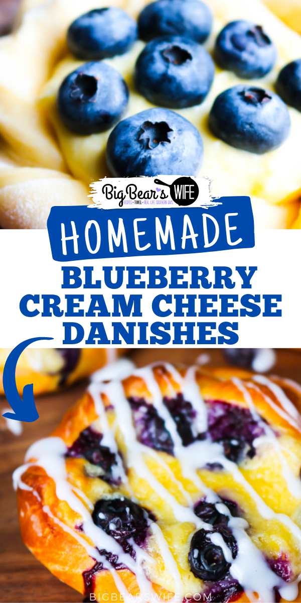 While I love a good shortcut when it comes to baking,Homemade Blueberry Cream Cheese Danishes from scratch are 100% worth it! They're filled with a cream cheese filling and topped with fresh summer blueberries! via @bigbearswife