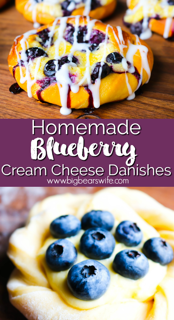 Homemade Blueberry Cream Cheese Danishes - While I love a good shortcut when it comes to baking, Homemade Blueberry Cream Cheese Danishes from scratch are 100% worth it! They're filled with a cream cheese filling and topped with fresh summer blueberries! #SummerDessertWeek