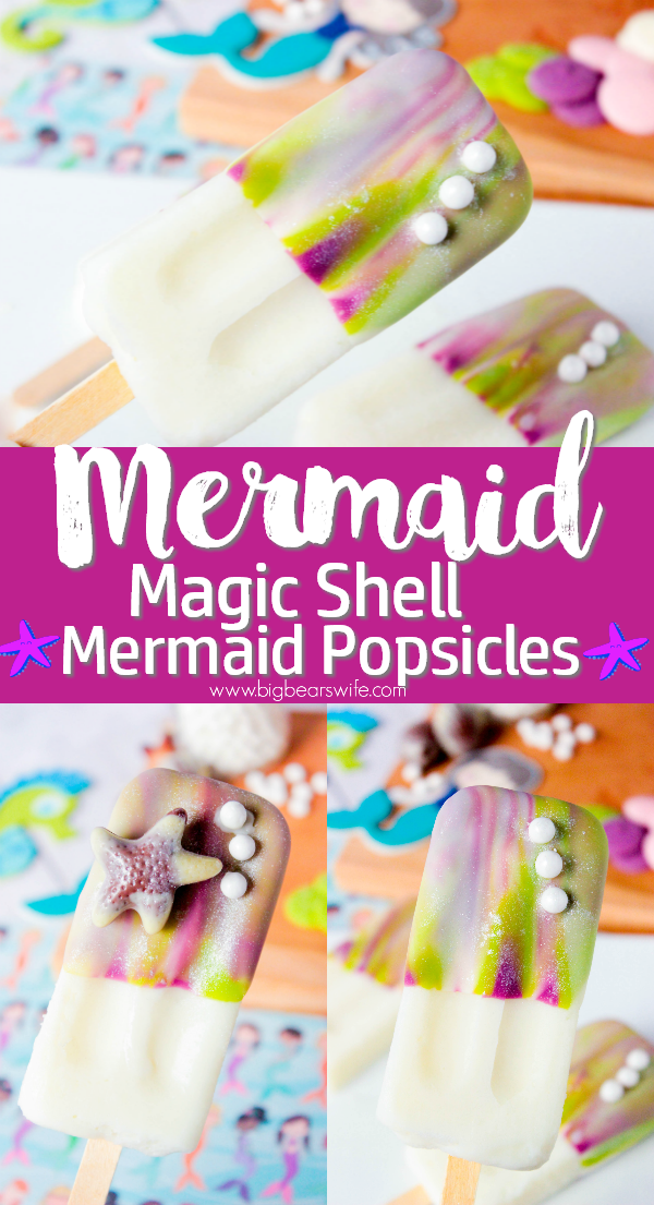 Ready for a magical summer dessert? These Mermaid Popsicles with homemade Mermaid Magic Shell are the answer! You'll love the shimmer and magical swirls that these mermaid pops have!  #SummerDessertWeek #MermaidIceCream #MagicShells