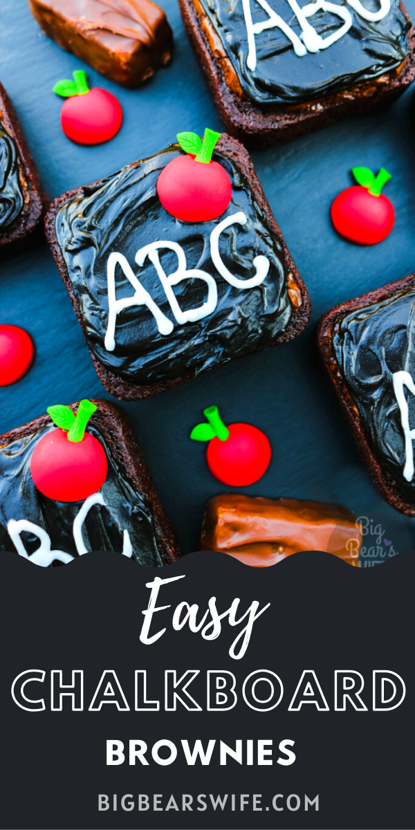 Easy Snickers Chalkboard Brownies - These fun and Easy Snickers Chalkboard Brownies are perfect for getting ready for school to start and for Back to School Lunches! These brownies are decorated to look just like little mini chalkboards!