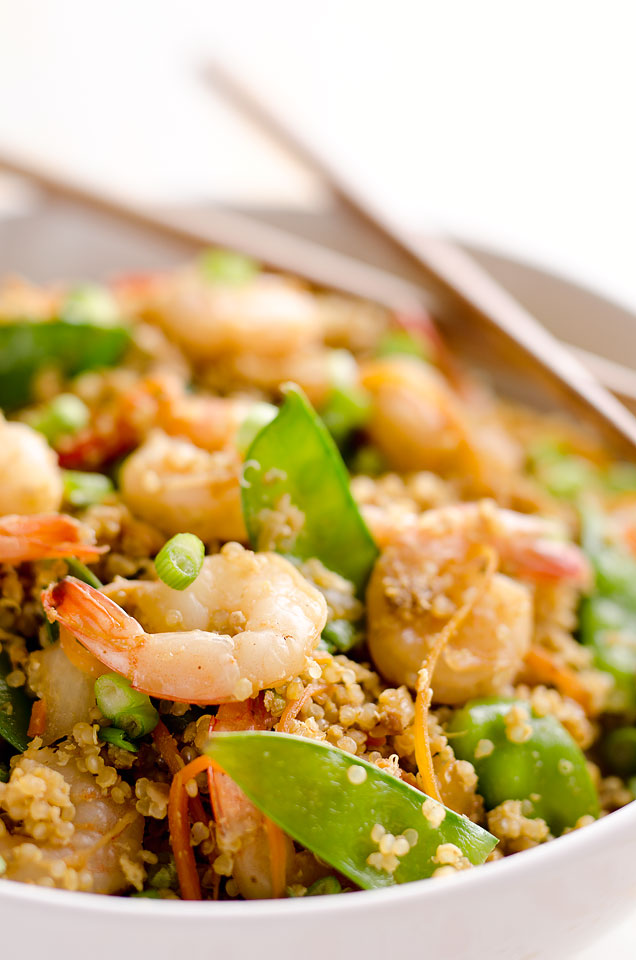 Light Shrimp Fried Quinoa is a healthy dinner full of protein packed quinoa and shrimp then finished off with delicious Kikkoman soy sauce!