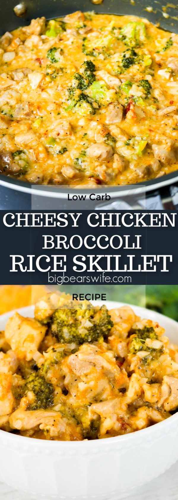 Cheesy, Broccoli, Chicken all dished up together in this 30 minute low carb dinner needs to be put on your weekly menu plan! Save this Low Carb Cheesy Chicken Broccoli Rice Skillet recipe and make it for your family this week!