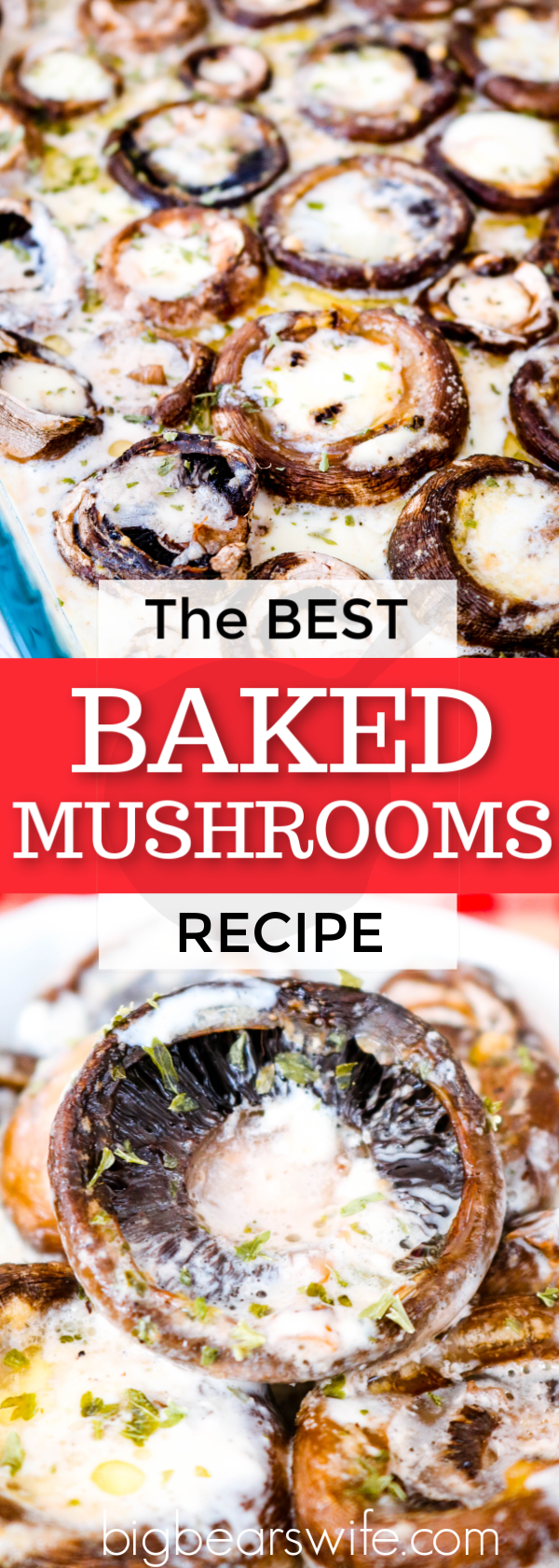 These mushrooms are baked in a tasty seasoned cream sauce and they're perfect as a party appetizer or as a side dish for lunch or dinner! They may be The BEST Baked Mushrooms I've ever had. #bakedmushrooms #mushrooms #ThanksgivingSideDish