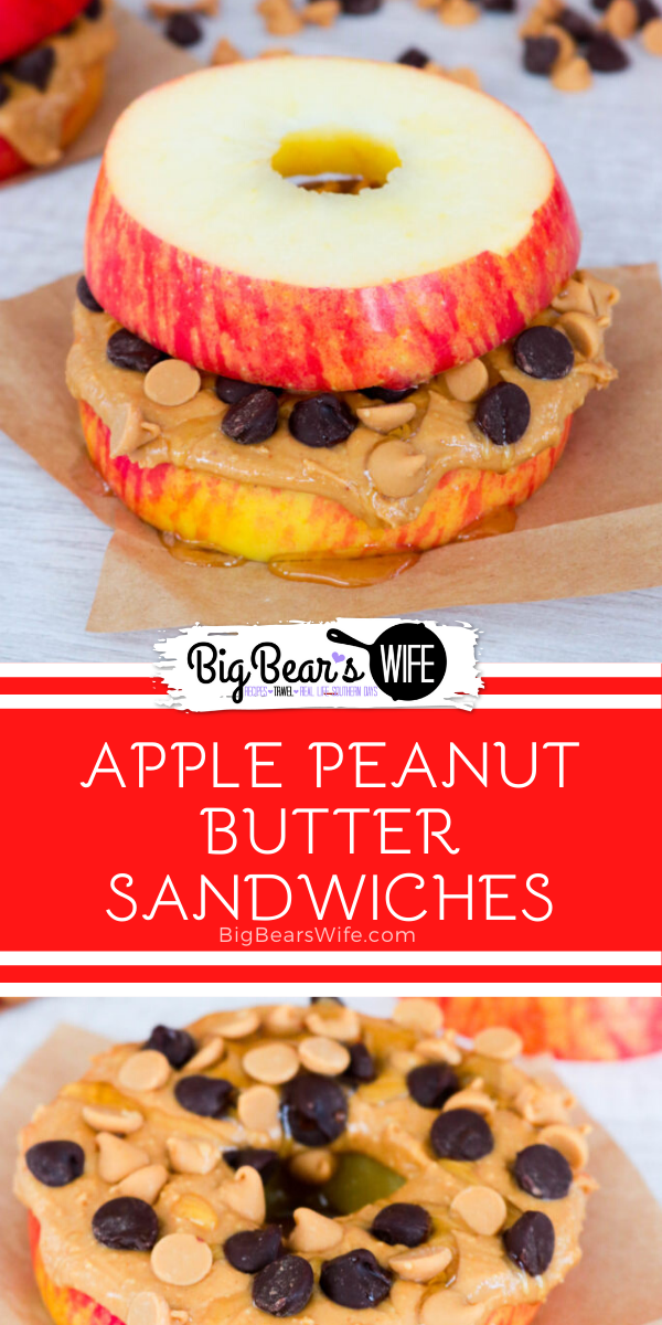 """Apple Peanut Butter Sandwiches - These Apple Peanut Butter Sandwiches are fun and easy to make! Eat these apple """"sandwiches"""" with just peanut butter or add in all sorts of treats like chocolate chips, peanut butter chips, honey, oats, or raisins."""