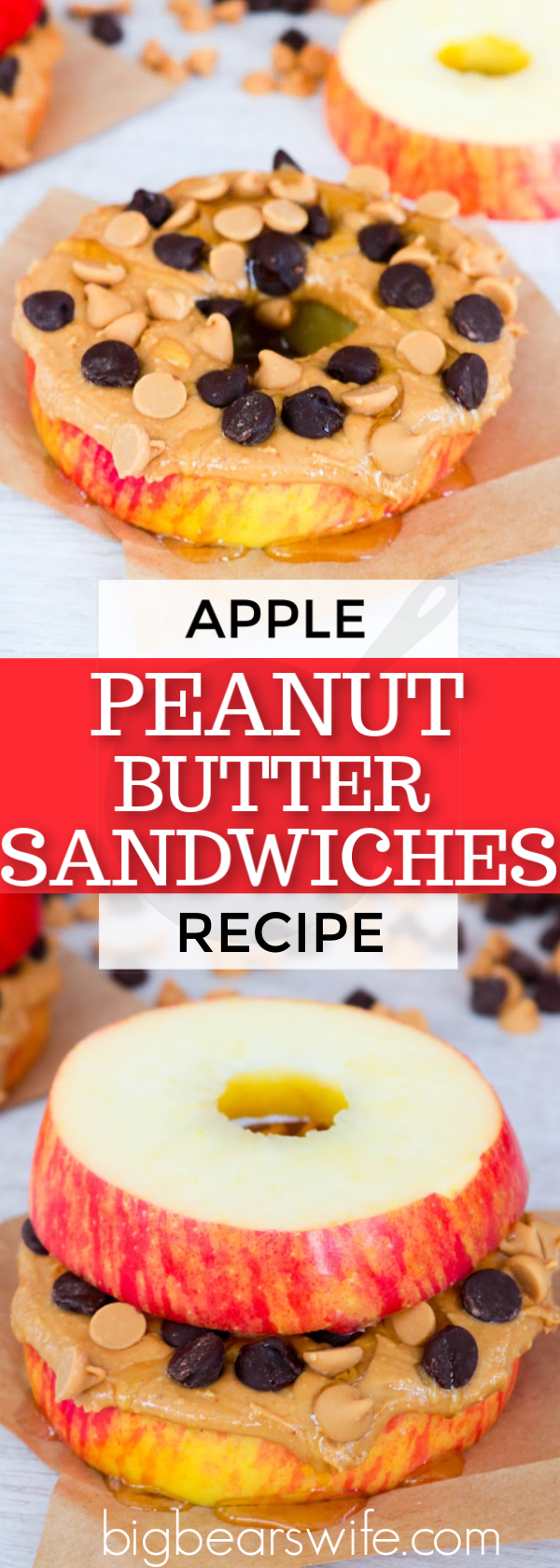 """These Apple Peanut Butter Sandwiches are fun, healthy and easy to make! Eat these apple """"sandwiches"""" with just peanut butter or add in all sorts of treats like chocolate chips, peanut butter chips, honey, oats, or raisins. #peanutbutter #applesandwich #HealthySnack"""
