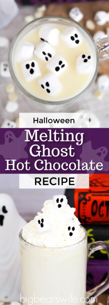 Melting Ghost Hot Chocolate ( Homemade White Hot Chocolate) #HalloweenTreatsWeek - Creamy and rich homemade white hot chocolate gets a Halloween twist with little marshmallow ghost with this spooky Melting Ghost Hot Chocolate!