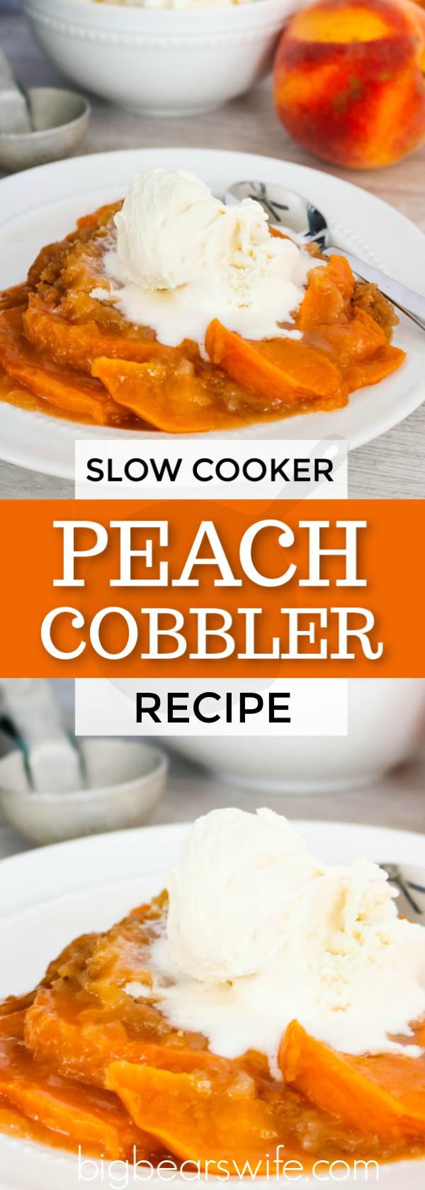 Use those fresh Farmer's Market peaches to make this amazing slow cooker peach cobbler!  It's perfect alone but even better when topped with ice cream or whipped cream! #slowcookerdessert #slowcookerpeachcobbler #peachcobbler