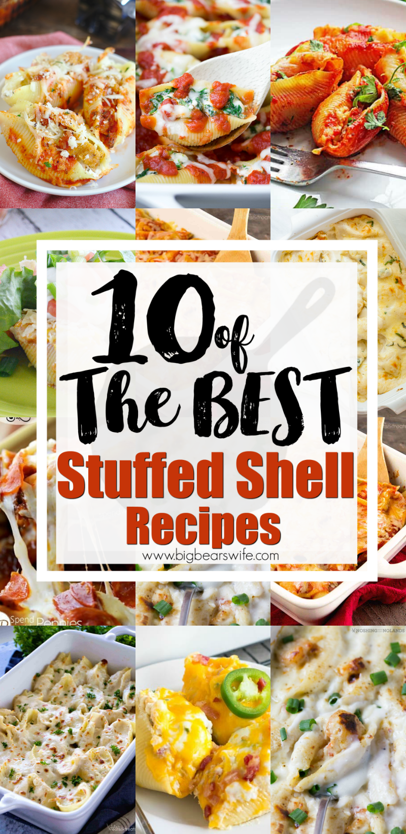 Stuffed Shells always end up making it onto our menu plan at least once a month! I love traditional stuffed shells but I'm also crazy about new ideas and here you'll find10 of the BEST Stuffed Shell Recipes out there! Give one of them a try this week! Let me know which one you love the most! #StuffedShells via @bigbearswife