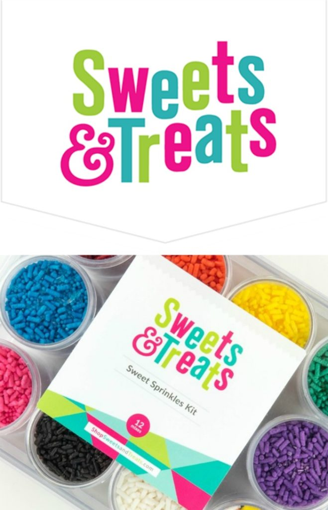 Sweets & Treats Logo with packaged assortment of colored sprinkles.