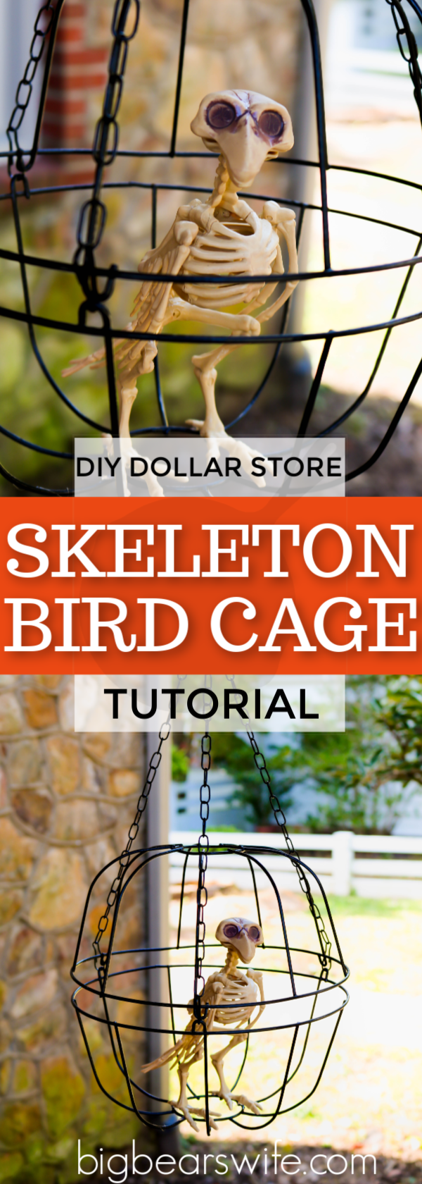 DIY Dollar Store Halloween Skeleton Bird Cage - Decorate on a budget with this easy dollar store DIY Halloween Skeleton Bird cage. This fun DIY Halloween craft cost $3 to make and yourDIY Dollar Store Halloween Skeleton Bird cage will look perfectly creepy outside or inside this Halloween! #DollarStoreDIY #DollarStoreHalloweenCraft #HalloweenCraft