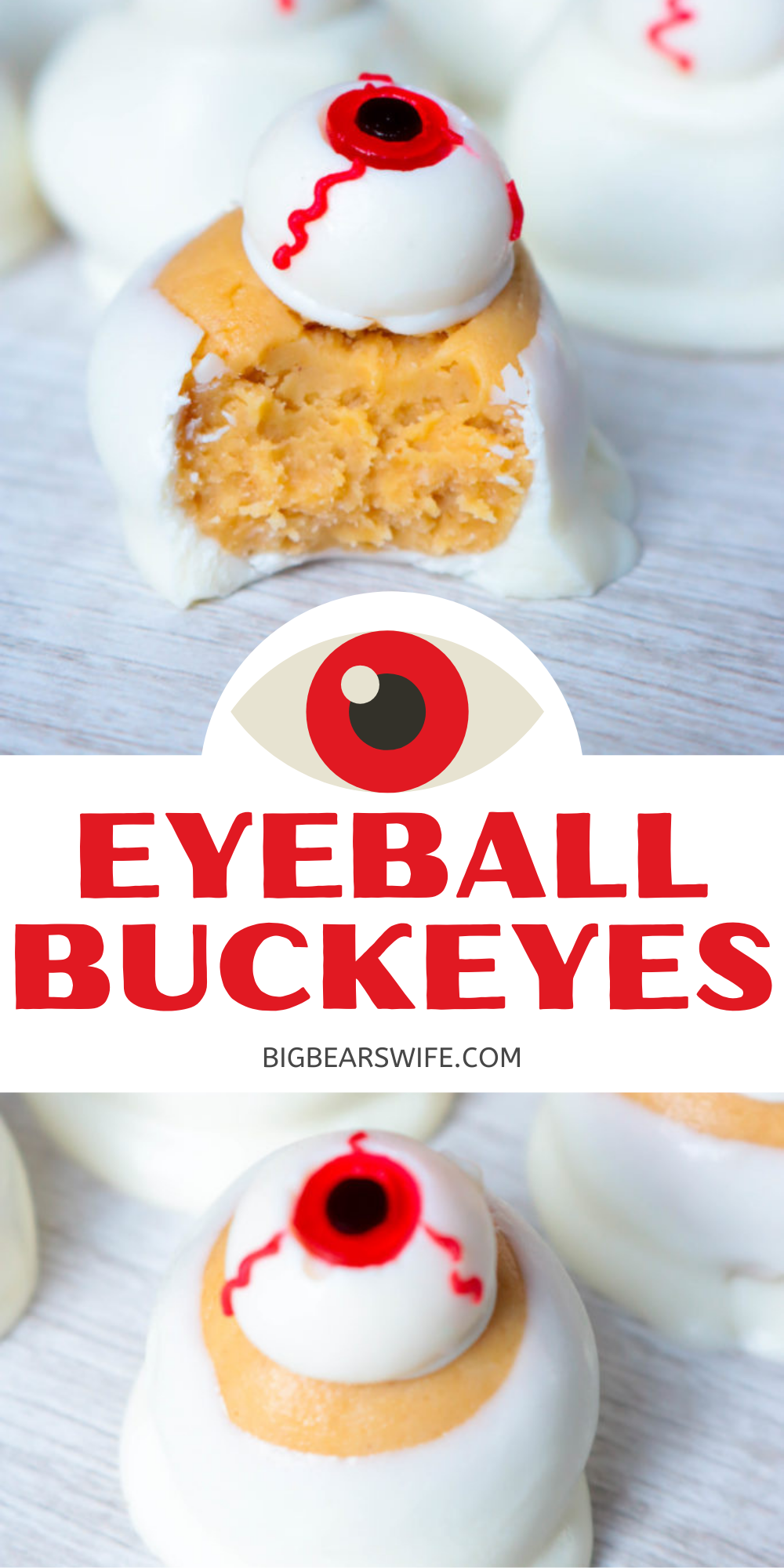 Simple and wickedly tasty peanut butter Halloween eyeball Buckeyes are watching you! I've got the recipe for you and 3 different ideas for decorating them!  via @bigbearswife