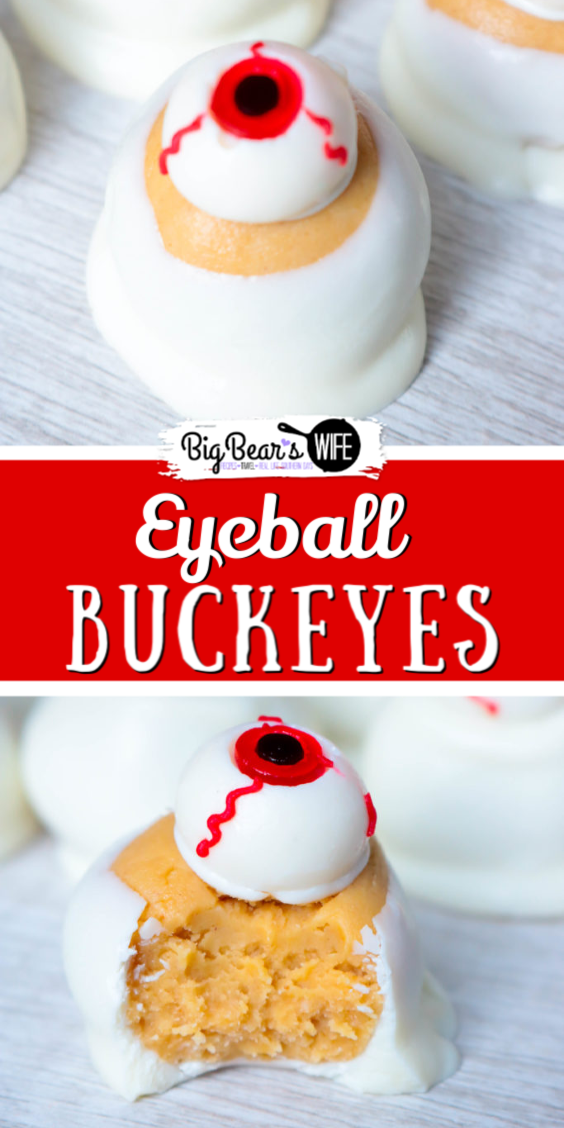 Simple and wickedly tasty peanut butter Halloween eyeball Buckeyes are watching you! I've got the recipe for you and 3 different ideas for decorating them!  #HalloweenCandy #HalloweenPeanutButterBalls #EyeBallDesserts via @bigbearswife