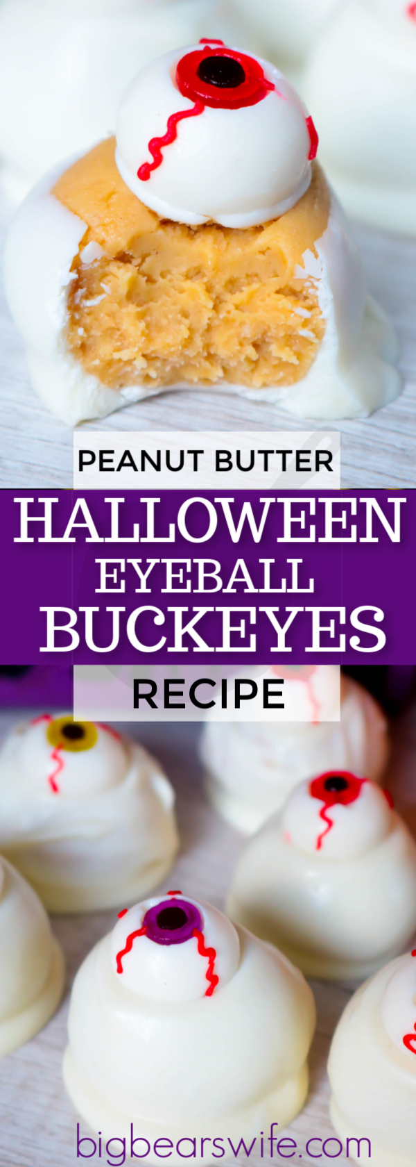 Simple and wickedly tasty peanut butter Halloween eyeball Buckeyes are watching you! I've got the recipe for you and 3 different ideas for decorating them!  #HalloweenCandy #HalloweenPeanutButterBalls #EyeBallDesserts